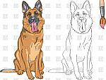 sitting-dog-contour-in-coloring-book-for-children-german-shepherd-Download-Royalty-free-Vector-File-EPS-88325
